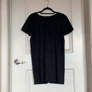 faux suede t shirt dress